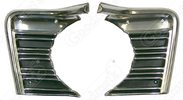 Grille Extensions, Left and Right, Paintable, 1967 Chevrolet Chevelle, El Camino, Malibu